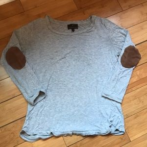 Grey 3/4 Sleeve Top with Elbow Patches - Medium